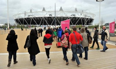 Visitors to the Olympic Park