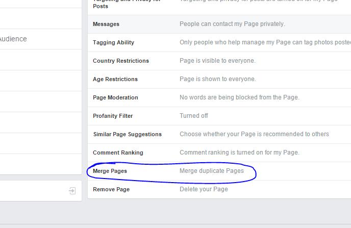 Merge facebook page