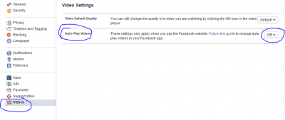 facebook video setting